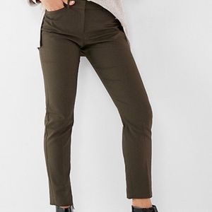 Express Columnist Mid Rise Ankle Pant Olive Green